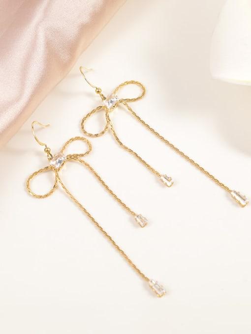 Gold Brass Cubic Zirconia White Bowknot Minimalist Drop Earring