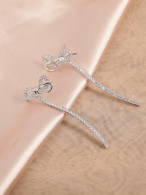 White Brass Cubic Zirconia White Bowknot Classic Drop Earring