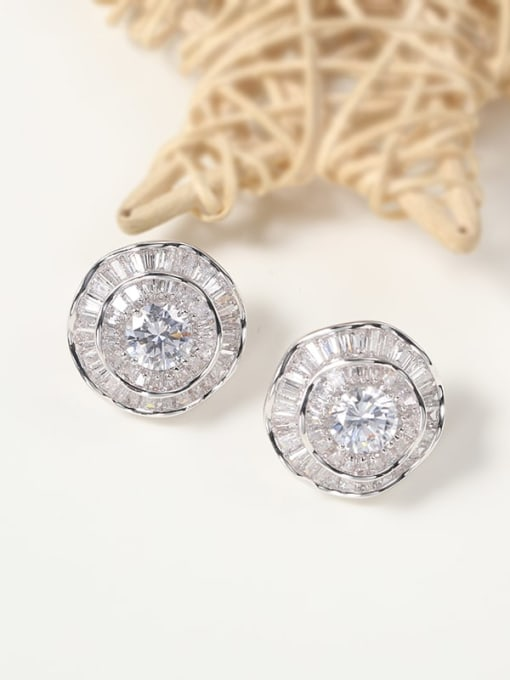 Lin Liang Brass Cubic Zirconia White Round Minimalist Stud Earring