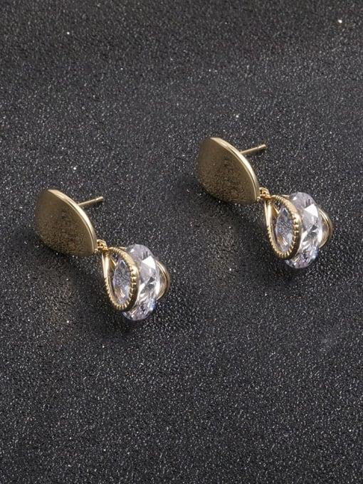Lin Liang Brass Cubic Zirconia White Irregular Minimalist Drop Earring 0