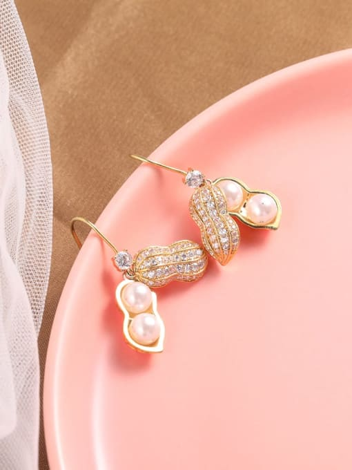 Lin Liang Brass Cubic Zirconia White Friut Dainty Drop Earring 0
