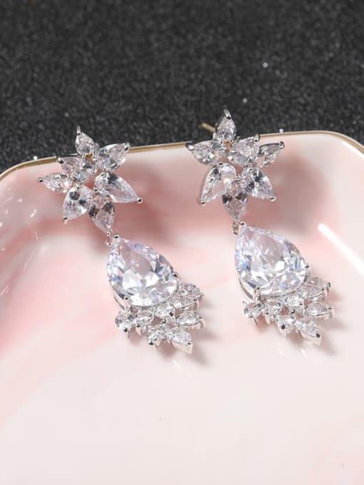 Lin Liang Brass Cubic Zirconia White Irregular Classic Drop Earring