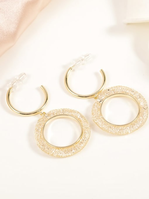 Gold Brass Crystal Clear Round Classic Drop Earring