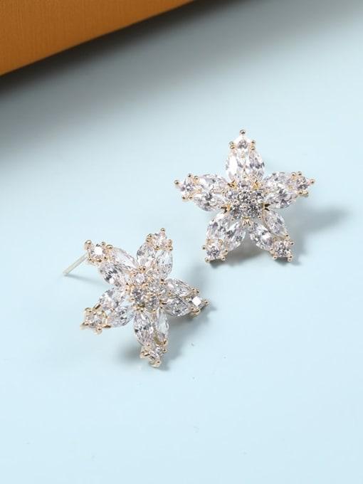 Lin Liang Brass Cubic Zirconia White Flower Minimalist Stud Earring