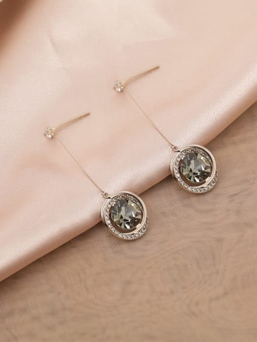 Coffee gold Brass Cubic Zirconia White Round Classic Drop Earring