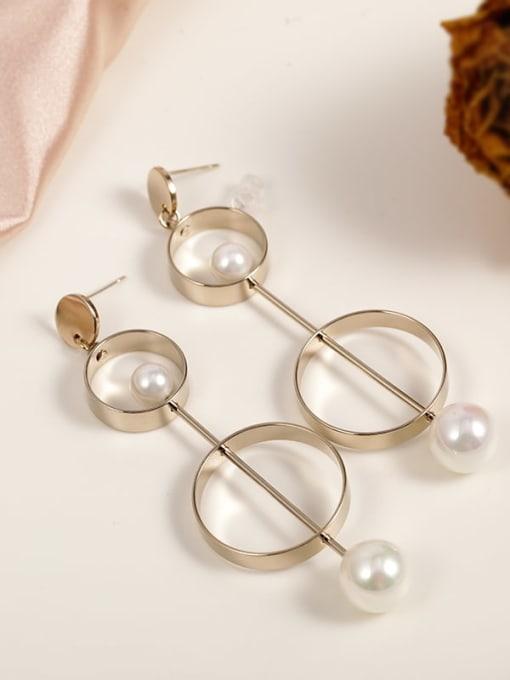 Kajin Baizhu Brass Imitation Pearl White Round Minimalist Drop Earring