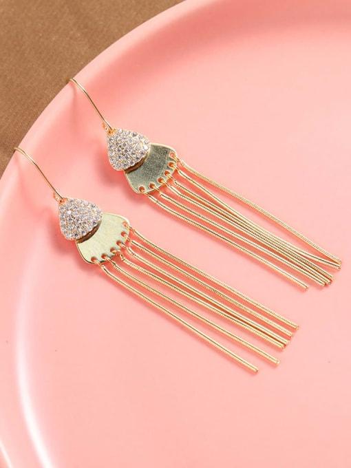 Lin Liang Brass Cubic Zirconia White Tassel Trend Drop Earring