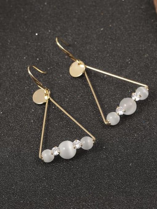 Gold Brass Cats Eye Gray Triangle Minimalist Drop Earring