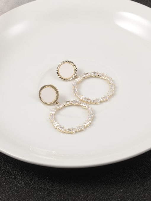 Gold Brass Cubic Zirconia White Round Classic Stud Earring