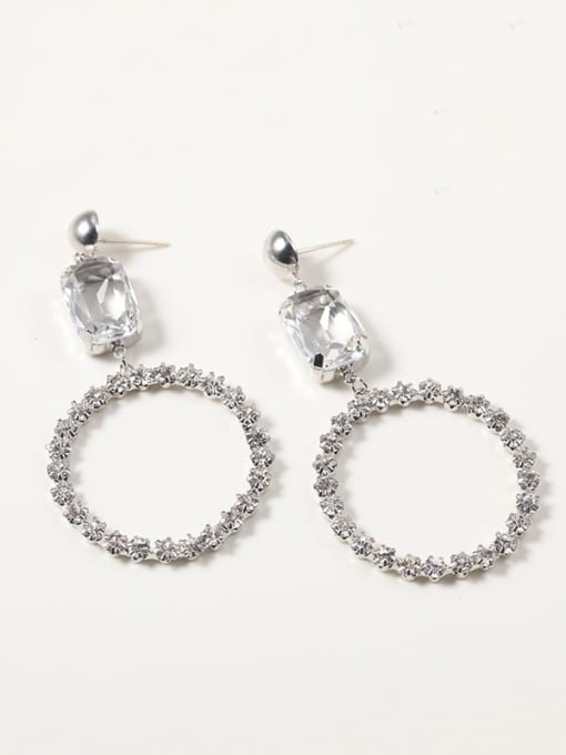 Lin Liang Brass Crystal White Irregular Dainty Drop Earring 0