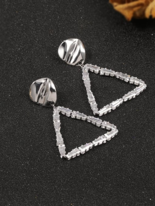 White Brass Cubic Zirconia White Triangle Classic Stud Earring