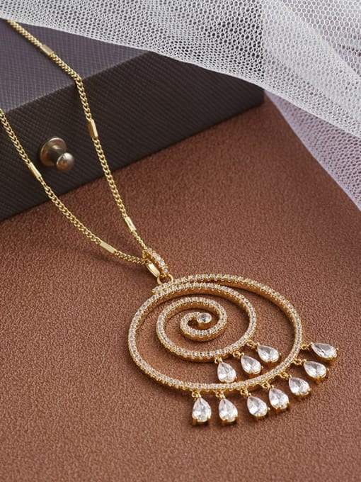 Gold Brass Cubic Zirconia White Round Dainty Long Strand Necklace