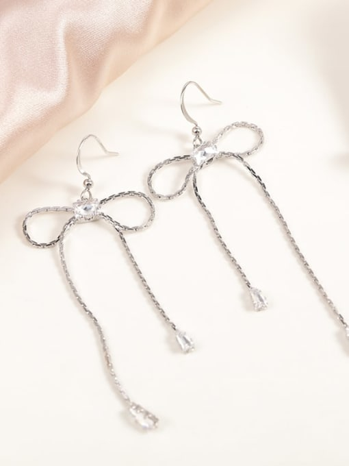 Lin Liang Brass Cubic Zirconia White Bowknot Minimalist Drop Earring
