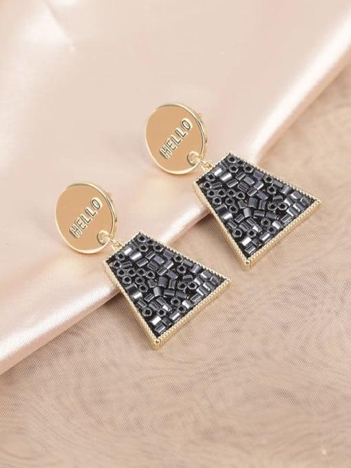Gold Brass Glass Stone Black Geometric Classic Drop Earring
