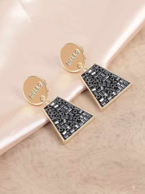 Lin Liang Brass Glass Stone Black Geometric Classic Drop Earring 0