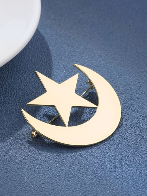 the moon and the stars Brass Enamel Feather Dainty Brooch