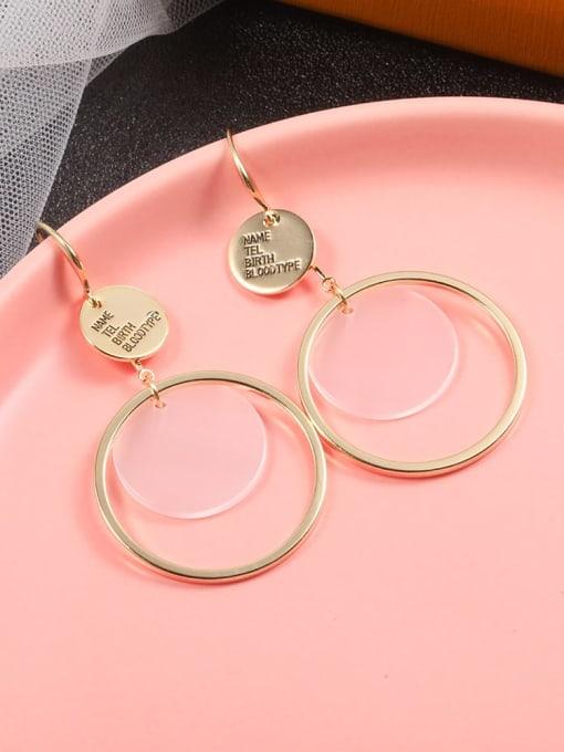 Lin Liang Brass Resin White Irregular Minimalist Hook Earring