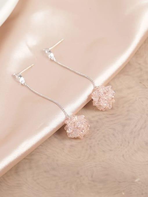 White Brass Crystal Pink Tassel Dainty Drop Earring