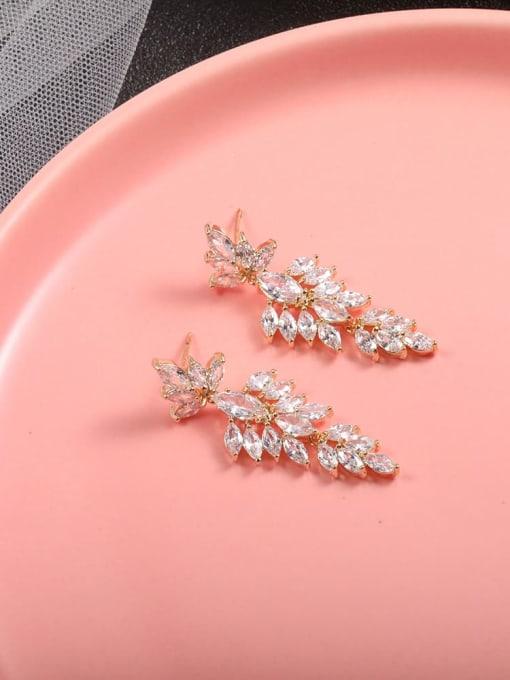 Lin Liang Brass Cubic Zirconia White Irregular Minimalist Drop Earring