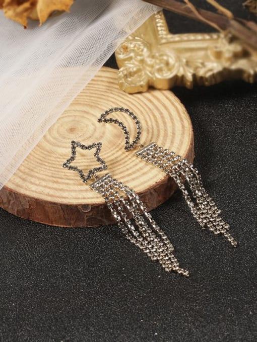 Lin Liang Brass Cubic Zirconia White Tassel Trend Stud Earring