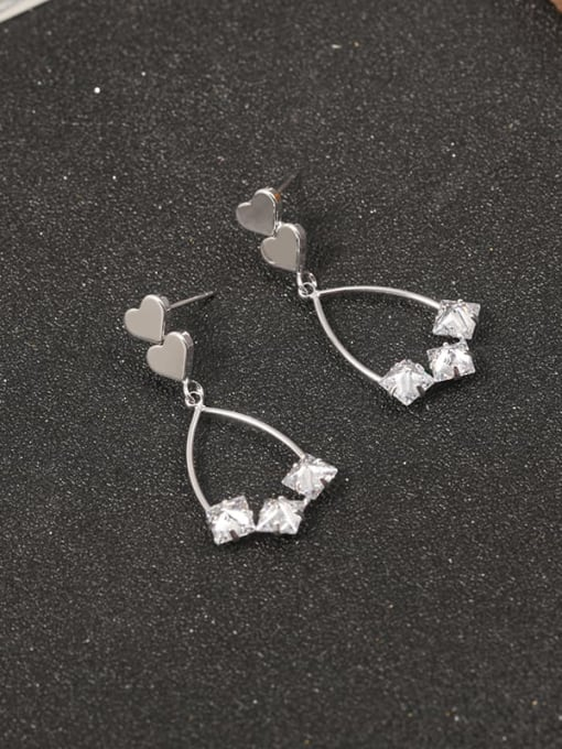 Lin Liang Brass Cubic Zirconia White Geometric Classic Drop Earring 0