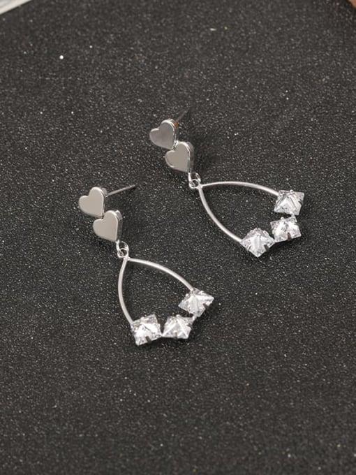 White Brass Cubic Zirconia White Geometric Classic Drop Earring