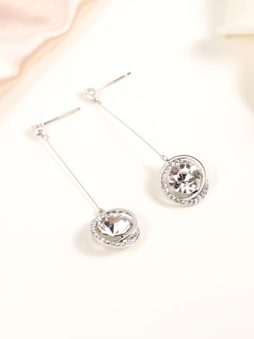 White Brass Cubic Zirconia White Round Classic Drop Earring