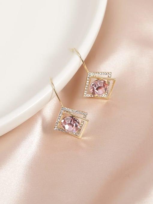 Golden pink diamond Brass Cubic Zirconia White Geometric Minimalist Drop Earring