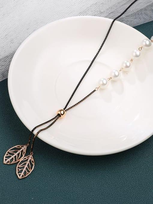 Black Brass Cubic Zirconia White Leaf Minimalist Long Strand Necklace