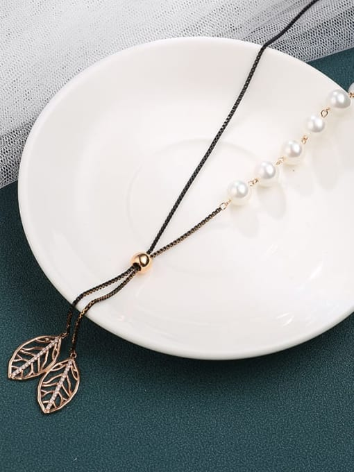 Lin Liang Brass Cubic Zirconia White Leaf Minimalist Long Strand Necklace