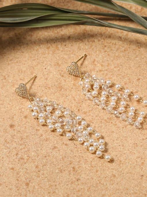 Lin Liang Brass Cubic Zirconia White Tassel Minimalist Drop Earring