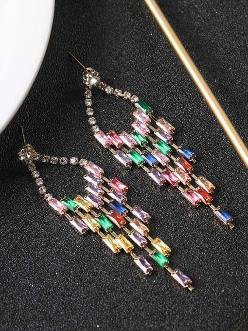 Lin Liang Brass Cubic Zirconia Multi Color Tassel Statement Drop Earring 1