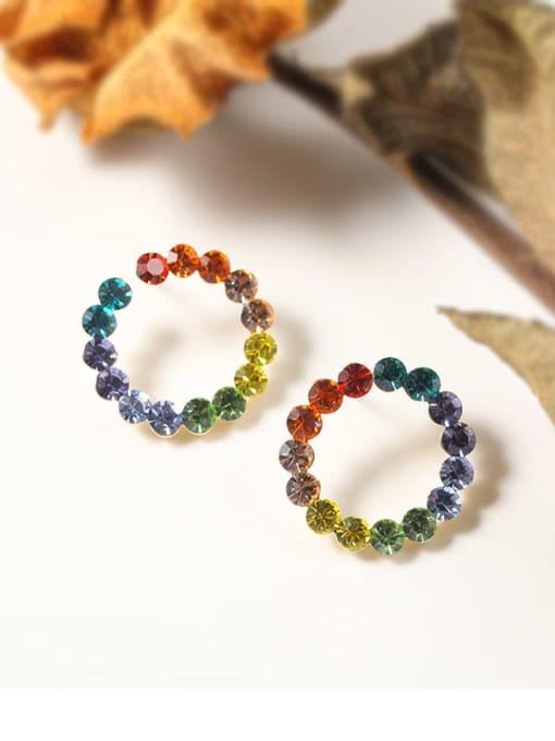 Lin Liang Brass Rhinestone Multi Color Geometric Classic Stud Earring 1