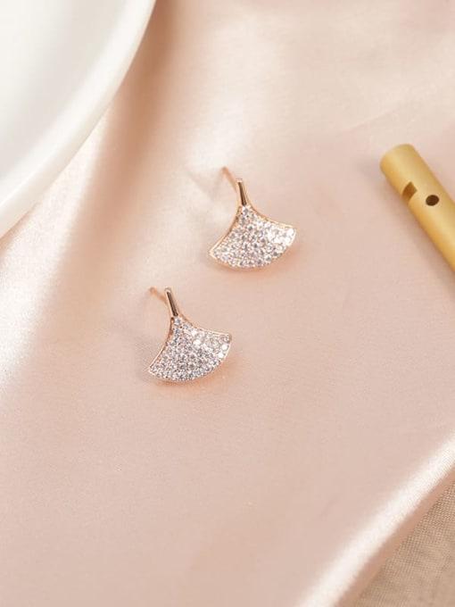 Rose Brass Cubic Zirconia White Leaf Minimalist Stud Earring