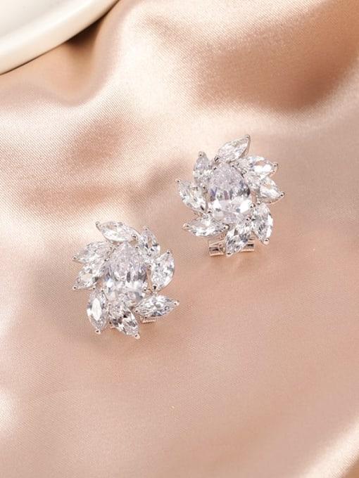 Lin Liang Brass Cubic Zirconia White Irregular Dainty Huggie Earring