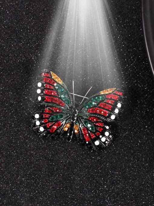 Lin Liang Alloy Rhinestone Multi Color Enamel Butterfly Dainty Brooch 1