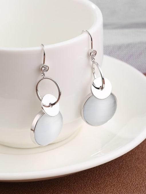 Lin Liang Brass Cats Eye White Round Dainty Drop Earring
