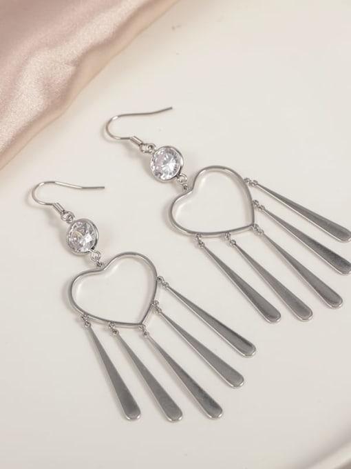 Lin Liang Brass Cubic Zirconia White Tassel Minimalist Hook Earring