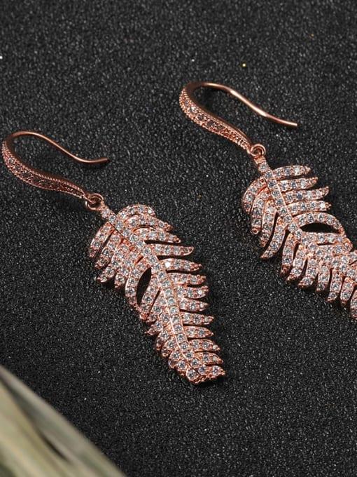Lin Liang Brass Cubic Zirconia White Leaf Classic Drop Earring