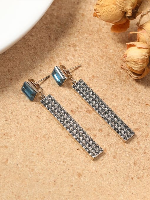 Lin Liang Brass Crystal Blue Rectangle Minimalist Drop Earring 0