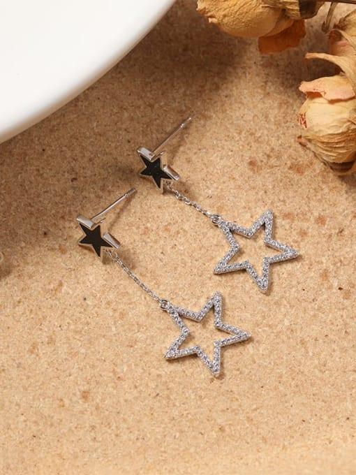 Lin Liang Brass Cubic Zirconia White Enamel Star Minimalist Drop Earring 0