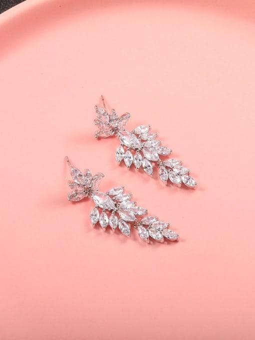 Lin Liang Brass Cubic Zirconia White Irregular Minimalist Drop Earring 1