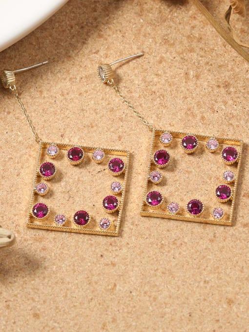 Lin Liang Brass Rhinestone Multi Color Square Minimalist Drop Earring 0