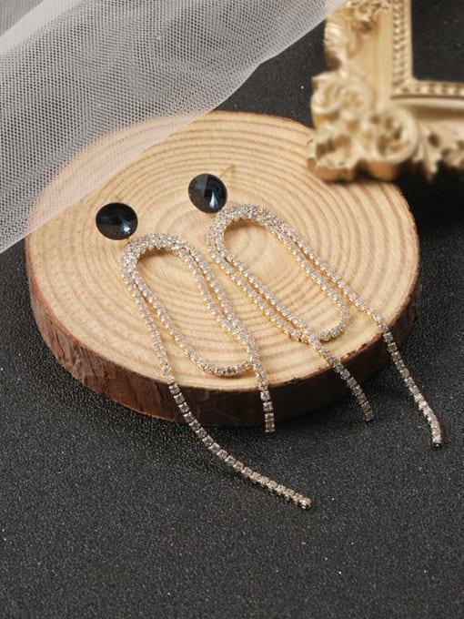 Gold Brass Cubic Zirconia White Tassel Classic Stud Earring