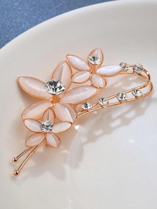 Lin Liang Brass Cats Eye Clear Flower Minimalist Brooch