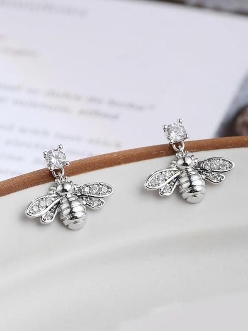 Lin Liang Brass Cubic Zirconia White Irregular Dainty Stud Earring 2