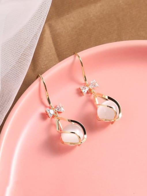 Lin Liang Brass Cats Eye White Tassel Dainty Drop Earring 0