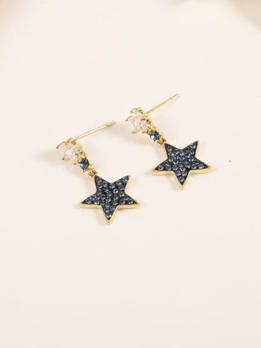 Gold Brass Cubic Zirconia Blue Enamel Star Minimalist Drop Earring