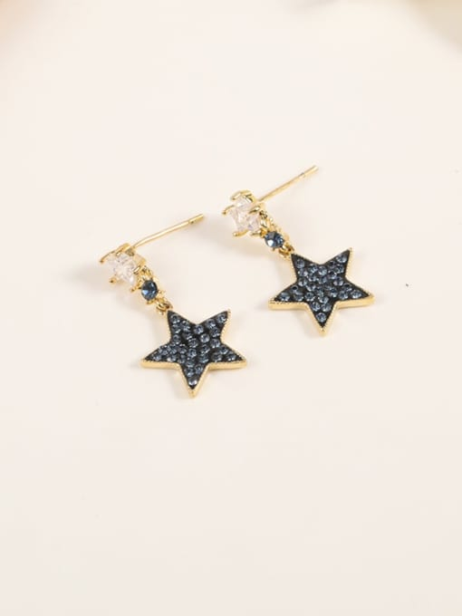 Lin Liang Brass Cubic Zirconia Blue Enamel Star Minimalist Drop Earring