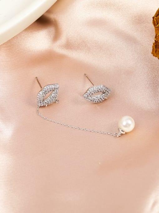 Lin Liang Brass Cubic Zirconia White Mouth Minimalist Drop Earring 1